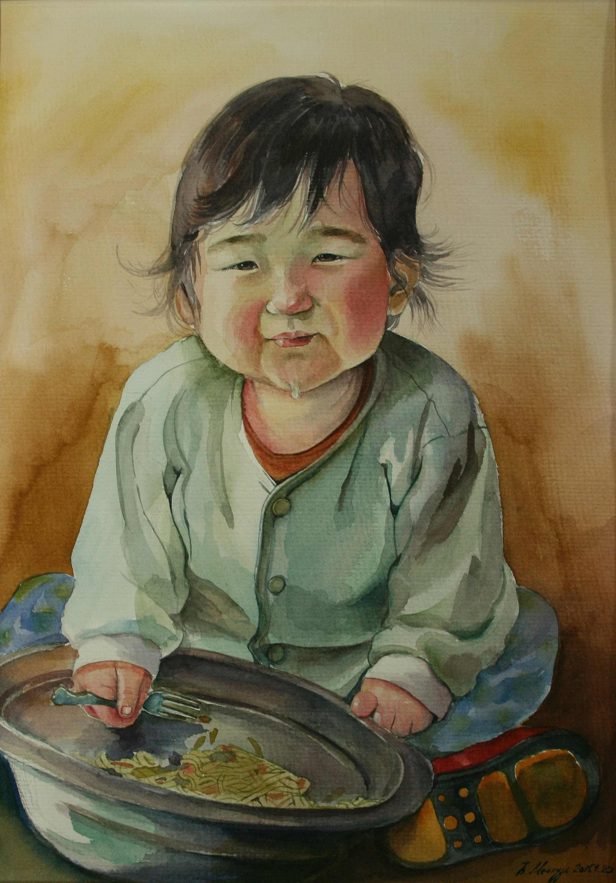 The meal of the little child in Mongolia