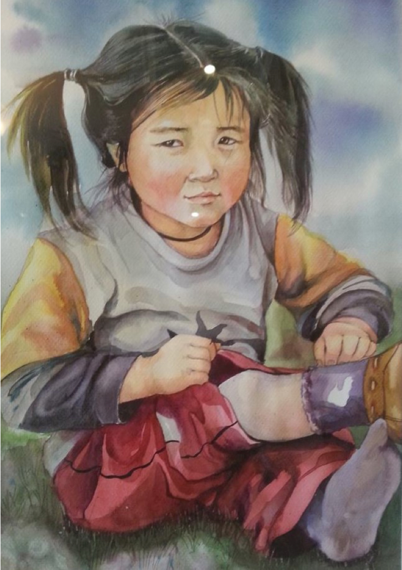 Watercolor of a Mongolian child crying after a riding accident