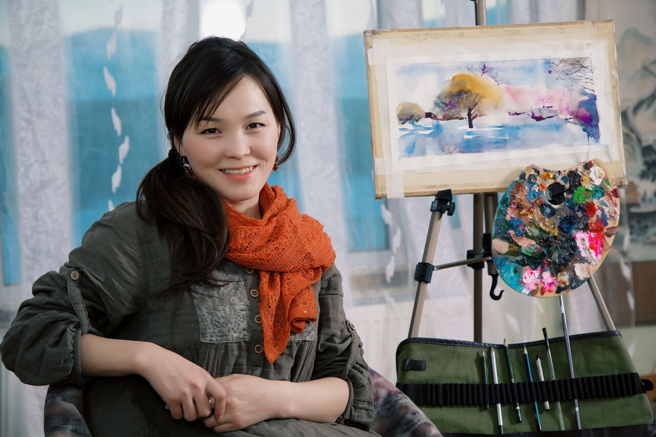 The Mongolian artist Zulaa in her workshop