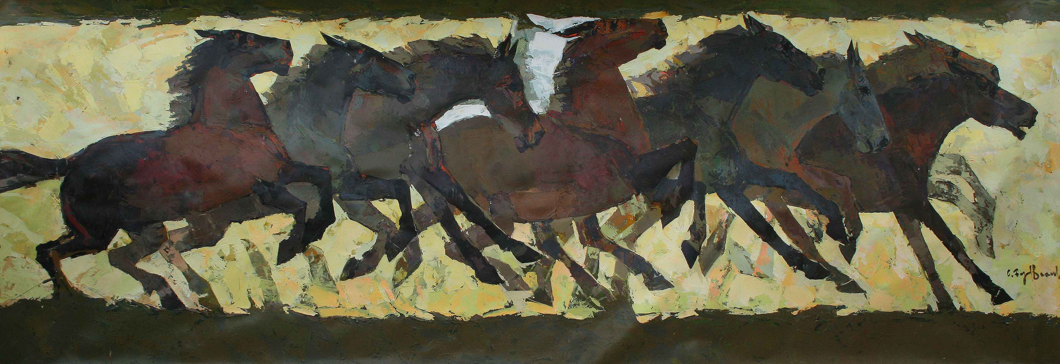 Painting of a herd of horses in various positions