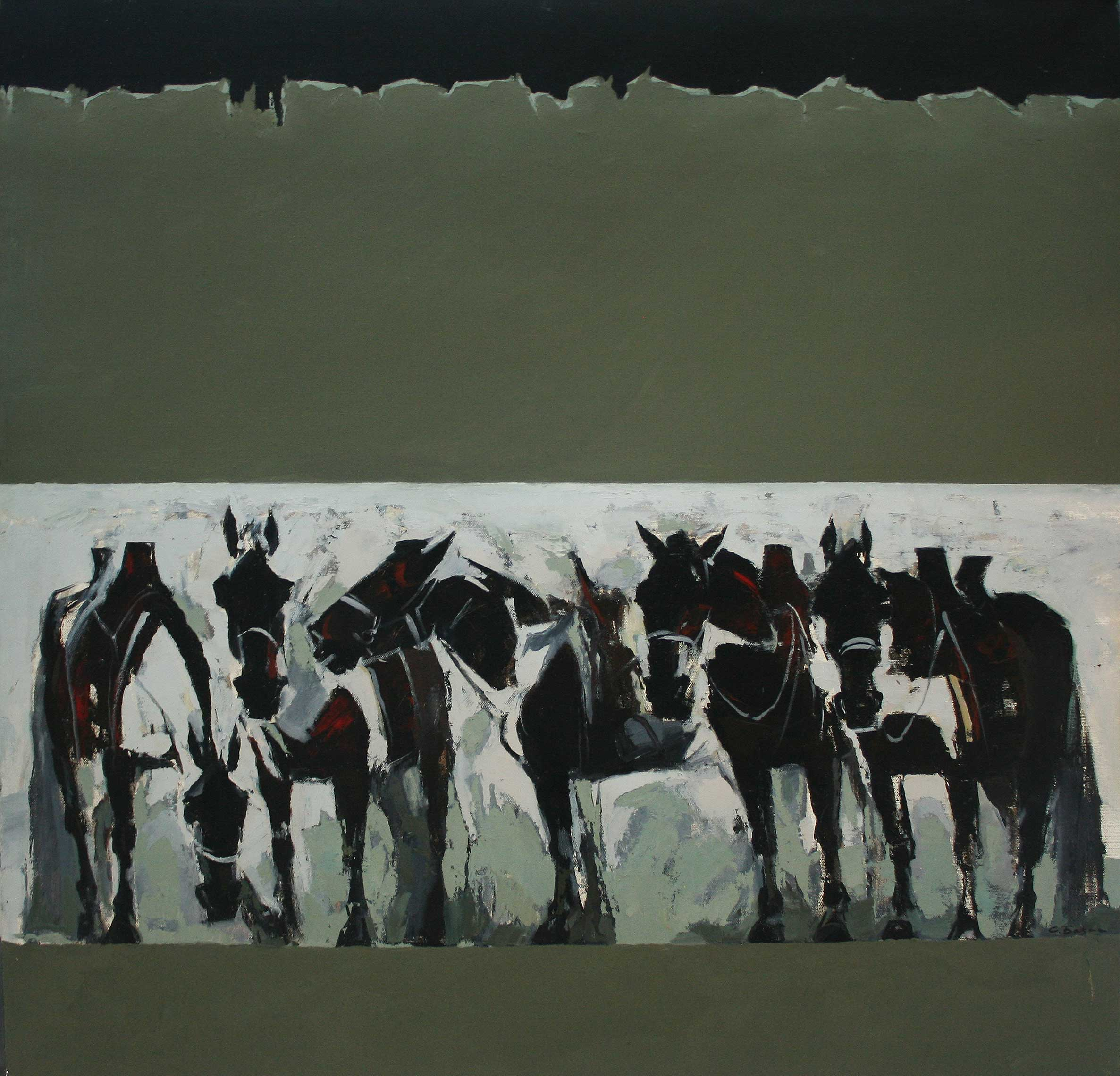 Horses in a black and white painting